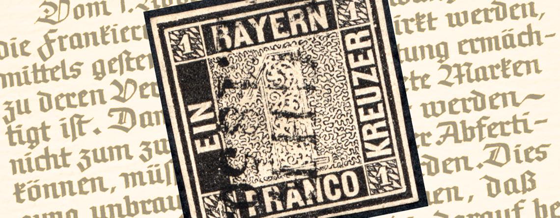 Die Erste Deutsche Briefmarke überhaupt Schwarzer Einser Bayern