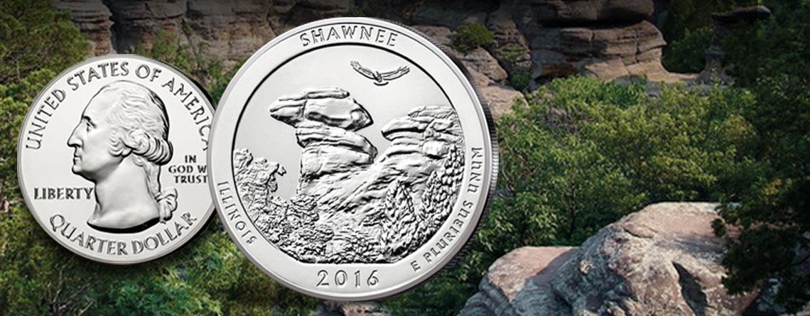 """USA 5 Unzen Silber 2016 - die erste Münze des Jahres aus der Serie """"America the Beautiful"""": Shawnee National Forest"""