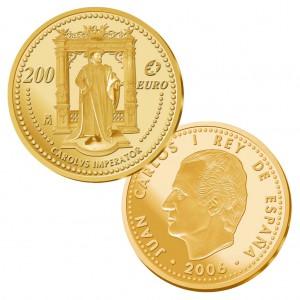 "Spanien 200 Euro 2006 ""Große Europäer – Karl V."", 999er Gold, 13,50g, Ø 30mm, PP, Auflage: 3.000"