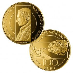 """Vatikan 100 Euro 2008 """"Die Erschaffung Adams"""", 917er Gold, 30g, Ø 35mm, PP, Auflage: 960"""