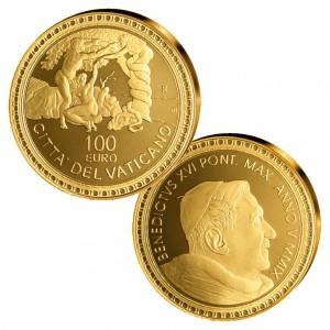 """Vatikan 100 Euro 2009 """"Sündenfall und Vertreibung aus dem Paradies"""", 917er Gold, 30g, Ø 35mm, PP, Auflage: 998"""