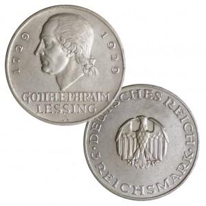 "Weimarer Republik 3 Reichsmark 1929 ""200. Geburtstag Gotthold Ephraim Lessing"", 500er Silber, 15g, Ø 30mm, Jaeger-Nr. 335"