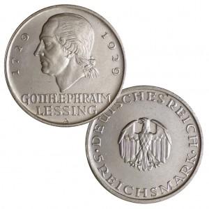 """Weimarer Republik 5 Reichsmark 1929 """"200. Geburtstag von Gotthold Ephraim Lessing"""", 500er Silber, 25g, Ø 36mm, Jaeger-Nr. 336"""