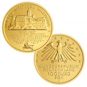 BRD 100 Euro 2011 UNESCO Weltkulturerbe - Wartburg, 999,9er Gold, 15,55g, Ø 28mm, Prägestätte ADFGJ, st Auflage: 64.000 je Prägestätte, Jaeger-Nr. 566