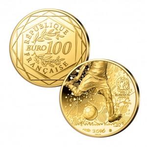 Frankreich 100 Euro 2016 Fußball-Europameisterschaft, 999er Gold, 1,8g, Ø 16mm, PP