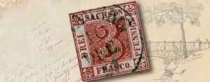 Briefmarken-Raritäten: der berühmte Sachsen Dreier, die erste Briefmarke des Königreiches Sachsen