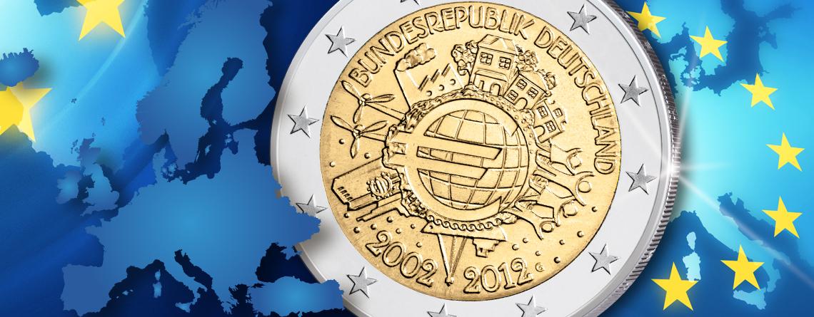 Die 2 Euro Gemeinschaftsausgabe 2012 10 Jahre Euro Bargeld 2 Euro