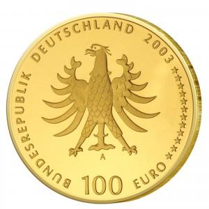 Wertseite der Münze BRD 100 Euro 2003 UNESCO Weltkulturerbe – Quedlinburg