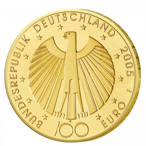 """Wertseite der Münze BRD 100 Euro 2005 """"Zur Fußball-Weltmeisterschaft 2006 in Deutschland"""""""