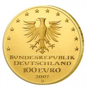 Wertseite der Münze BRD 100 Euro 2007 UNESCO Weltkulturerbe - Lübeck