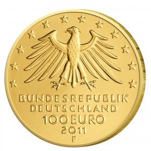 Wertseite der Münze BRD 100 Euro 2011 UNESCO Weltkulturerbe - Wartburg