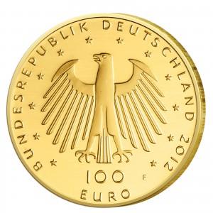 Wertseite der Münze BRD 100 Euro 2012 UNESCO Weltkulturerbe – Aachener Dom