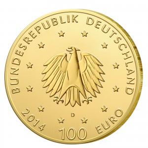 Wertseite der Münze BRD 100 Euro 2014 UNESCO Weltkulturerbe – Kloster Lorsch