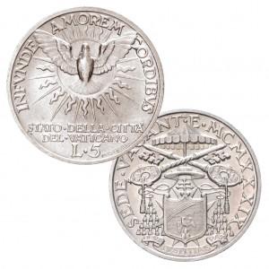 Vatikan 5 Lire 1939 Sedisvakanz, 835er Silber, 5 Gramm, Ø 23 mm, Auflage 40.000