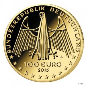 BRD 100 Euro 2015 Wertseite der Münze UNESCO Weltkulturerbe – Oberes Mittelrheintal