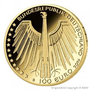 Wertseite der Münze BRD 100 Euro 2016 UNESCO Weltkulturerbe – Altstadt Regensburg mit Stadtamhof