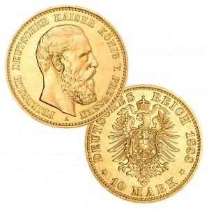 Preußen 10 Mark 1888 Friedrich III., 900er Gold, 3,982g, Ø 19,5mm, Prägestätte A (Berlin), Auflage 876.224, Jaeger-Nr. 247