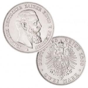 Preußen 2 Mark 1888 Friedrich III., 900er Silber, 11,111g, Ø 28mm, Prägestätte A (Berlin), Auflage 500.000, Jaeger-Nr. 98
