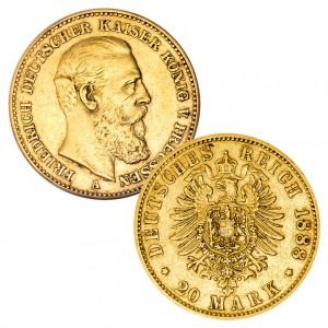 Preußen 20 Mark 1888 Friedrich III., 900er Gold, 7,965g, Ø 22,5mm, Prägestätte A (Berlin), Auflage 5.363.501, Jaeger-Nr. 247