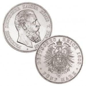 Preußen 5 Mark 1888 Friedrich III., 900er Silber, 27,778g, Ø 38mm, Prägestätte A (Berlin), Auflage 200.000, Jaeger-Nr. 99