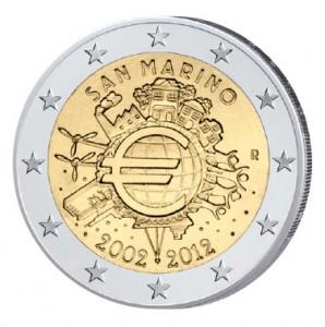 """Themen- und motivgleich, aber nicht zur 2 Euro-Gemeinschaftsausgabe dazu gehörig: San Marinos 2 Euro-Gedenkmünze 2012 """"10 Jahre Euro-Bargeld"""""""