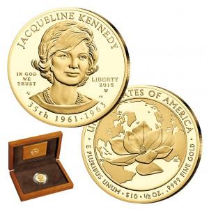"""USA 10 Dollars 2015 """"Jacqueline Kennedy - 35. First Spouse 1961-1963"""", 999,9er Gold, ½ Unze, Ø 26,50mm, im Etui mit Echtheitszertifikat, PP, Auflage: 30.000"""