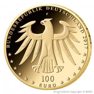 Wertseite der Münze BRD 100 Euro 2017 UNESCO Welterbe – Luthergedenkstätten Eisleben und Wittenberg