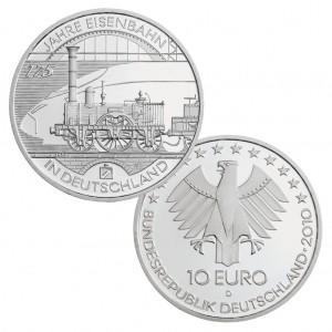 BRD, 10 Euro 2010 175 Jahre Eisenbahn in Deutschland, 925er Silber, 18g, Ø 32,5mm, Prägestätte D München, st Auflage: 2.041.000, PP Auflage: 186.000, Jaeger-Nr. 556