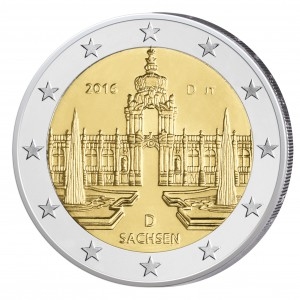 """BRD 2 Euro-Gedenkmünze 2016 """"Sachsen – Dresdner Zwinger"""""""