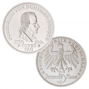"""BRD 5 DM 1955 """"150. Todestag von Friedrich von Schiller"""", 625er Silber, 11,2g, 29mm, Prägestätte F (Stuttgart), Aufla-ge: 198.783, Jaeger-Nr. 389"""