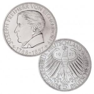 BRD 5 DM 1957, 625er Silber, 11,2g, 29mm, Prägestätte J (Hamburg), Auflage: 198.000, Jaeger-Nr. 391