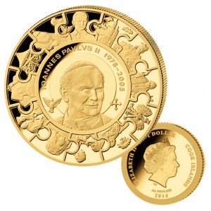 Cook Islands 1 Dollar 2014 Johannes Paul II., 999er Gold, 1/50 oz, Ø 11mm, Auflage: 5.000