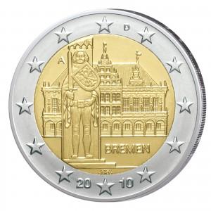 """BRD 2 Euro-Gedenkmünze 2010 """"Bremen - Bremer Rathaus und Roland"""""""