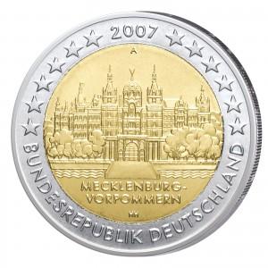"""BRD 2 Euro-Gedenkmünze 2007 """"Mecklenburg-Vorpommern - Schweriner Schloss"""""""