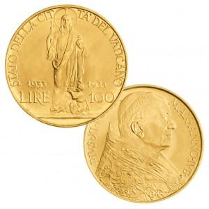 """Stato della Città del Vaticano (Vatikan), Pontifikat Pius XI., 100 Lire 1933/34 """"1900. Jahrestag der Auferstehung – Heiliges Jahr der Erlösung"""", 900er Gold, 8,80g, Ø 23,5mm"""