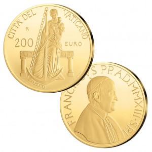 """Vatikan 200 Euro 2013 """"Franziskus – Die theologischen Tugenden: die Hoffnung"""", 917er Gold, 40 Gramm, im Etui mit Echtheitszertifikat, PP, Auflage: 499"""
