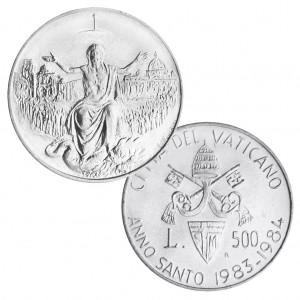 """Vatikan 500 Lire 1983/1984 """"Außerordentliche Heiliges Jahr: 1950. Jahrestag der Auferstehung!, 835er Silber, 11g, Ø 29,3mm, Auflage: 130.000"""
