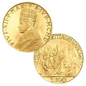 Stato della Città del Vaticano (Vatikan), Pontifikat Pius XII.., 100 Lire 1950, 900er Gold, 5,20g, Ø 20mm, Auflage: 20.000