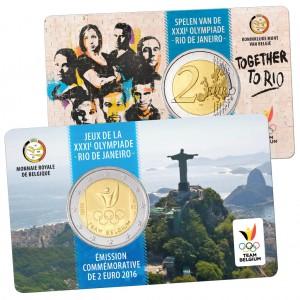 """""""Französische Variante"""" Belgien 2 Euro-Gedenkmünze 2016 """"Olympische Spiele 2016 Rio de Janeiro, Team Belgien"""" Coincard (Motiv der Münze auf der """"französischen""""-Seite, Wertseite der Münze auf der """"niederländischen Seite"""" der Coincard)"""