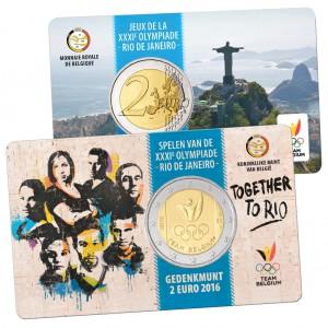 """""""Niederländische Variante"""" Belgien 2 Euro-Gedenkmünze 2016 """"Olympische Spiele 2016 Rio de Janeiro, Team Belgien"""" Coincard (Motiv der Münze auf der """"niederländischen""""-Seite, die Wertseite auf der """"französischen"""" Seite der Coincard)"""