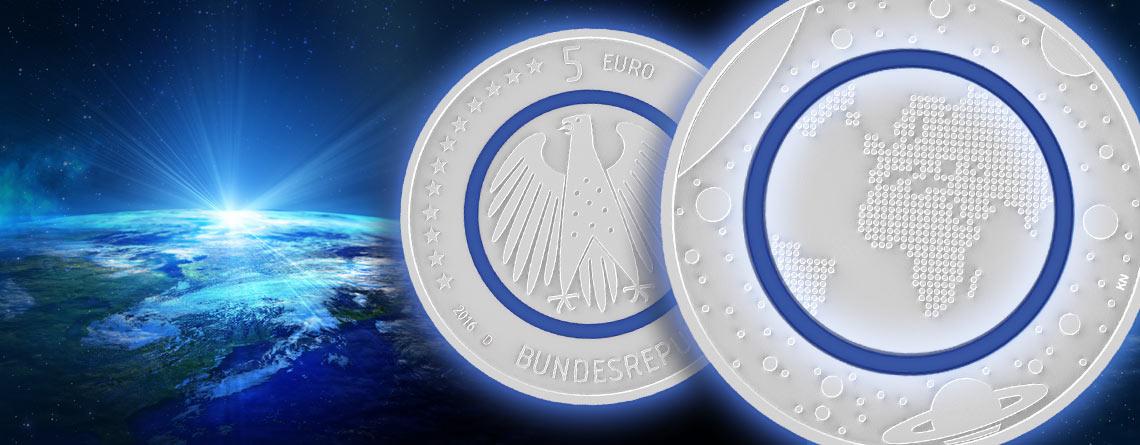 "4. April 2016 – offizieller Ausgabetag der BRD 5 Euro-Münze 2016 ""Planet Erde"""