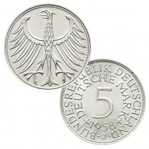 Silberadler BRD 5 DM 1958 J (Prägestätte Hamburg) – Katalogwert bis zu Liebhaberpreisen