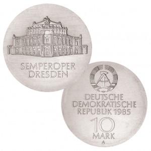 DDR 10 Mark 1985 Wiedereröffnung der Semperoper , 500er Silber, 17g, Ø 31mm, Prägestätte A (Berlin), Auflage: 55.002, Jaeger-Nr. 1600