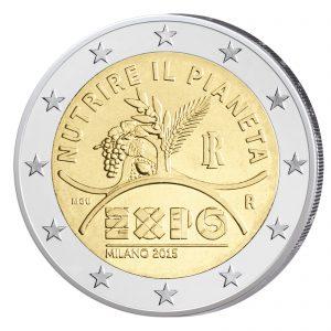 """Motivseite Italien 2 Euro-Gedenkmünze 2015 Weltausstellung EXPO 2015 - """"Den Planeten ernähren, Energie für das Leben"""""""