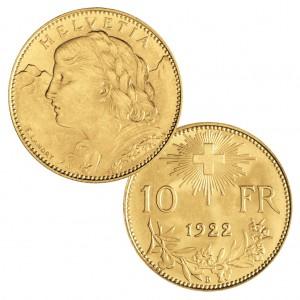 Schweiz 10 Franken (Goldvreneli), 900er Gold, 3,226g, Ø 19mm