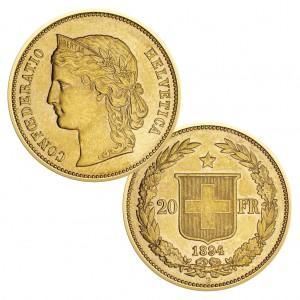 Schweiz 20 Franken (Helvetia) 1886-1895, 900er Gold, 6,45g, Ø 21,4mm