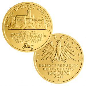 BRD, 100 Euro 2011 UNESCO Weltkulturerbe - Wartburg, 999,9er Gold, 15,55g, Ø 28mm, Prägestätte ADFGJ, st, Auflage: 64.000 je Prägestätte, Jaeger-Nr. 566