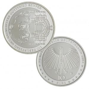 BRD 10 Euro 2003 200. Geburtstag des Baumeisters Gottfried von Semper, 925er Silber, 18g, Ø 32,5mm, Prägestätte G (Karlsruhe), st Auflage: 2.050.000, PP Auflage: 350.000, Jaeger-Nr. 503