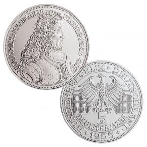 """BRD 5 DM 1955 """"300. Geburtstag des Markgrafen Ludwig Wilhelm von Baden"""", 625er Silber, 11,2g, 29mm, Prägestätte G (Karlsruhe), vz/st, Auflage: 198.000, Jaeger-Nr. 390"""