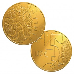 """Finnland 100 Euro 2010 """"150 Jahre finnische Währung"""", 917er Gold, 5,65g, Ø 22mm, PP, Auflage: 7.000"""